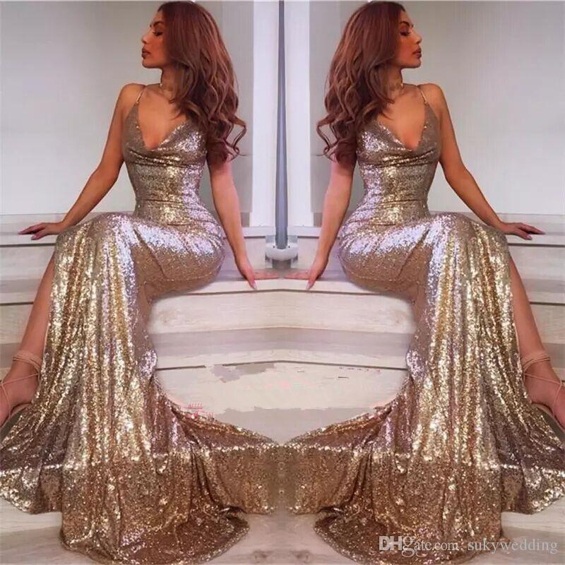 f04713a0 Sparky Red Sequined Mermaid Evening Dresses 2018 Spaghetti Straps V Neck  Front Split Prom Dresses Long Sweep Train Custom Made Maxi Evening Dress  Monsoon ...