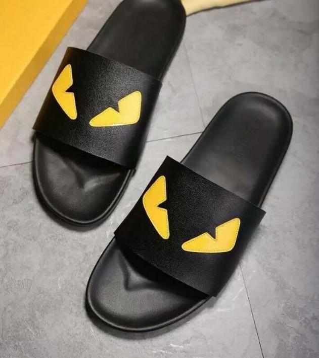 a67f48b5603 Brand Designer High End Custom Metal Cowhide Fashion Eye Little Monster Men  Slipper Comfortable Tlat Casual Trend Shoes Flip Flops 44D8 Boots Online  Cowboy ...