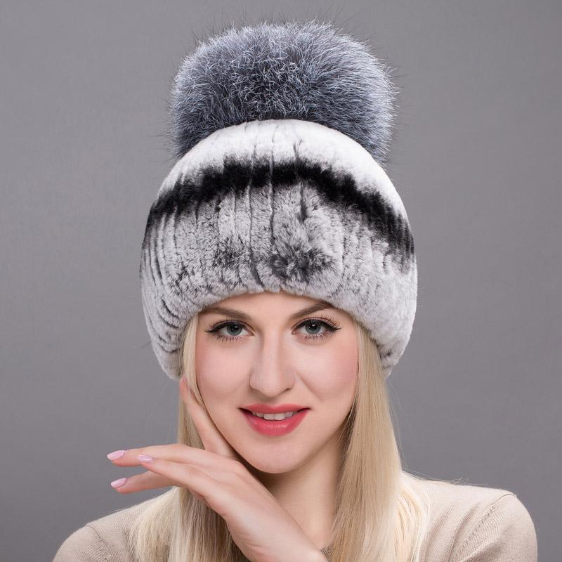 ebbf5927129 2019 Autumn Winter Real Rabbit Fur Hat Female Natural Furry Fox Hair Ball  Russian Hat New Winter Warm Real Rabbit Fur Fashion New From Hiramee