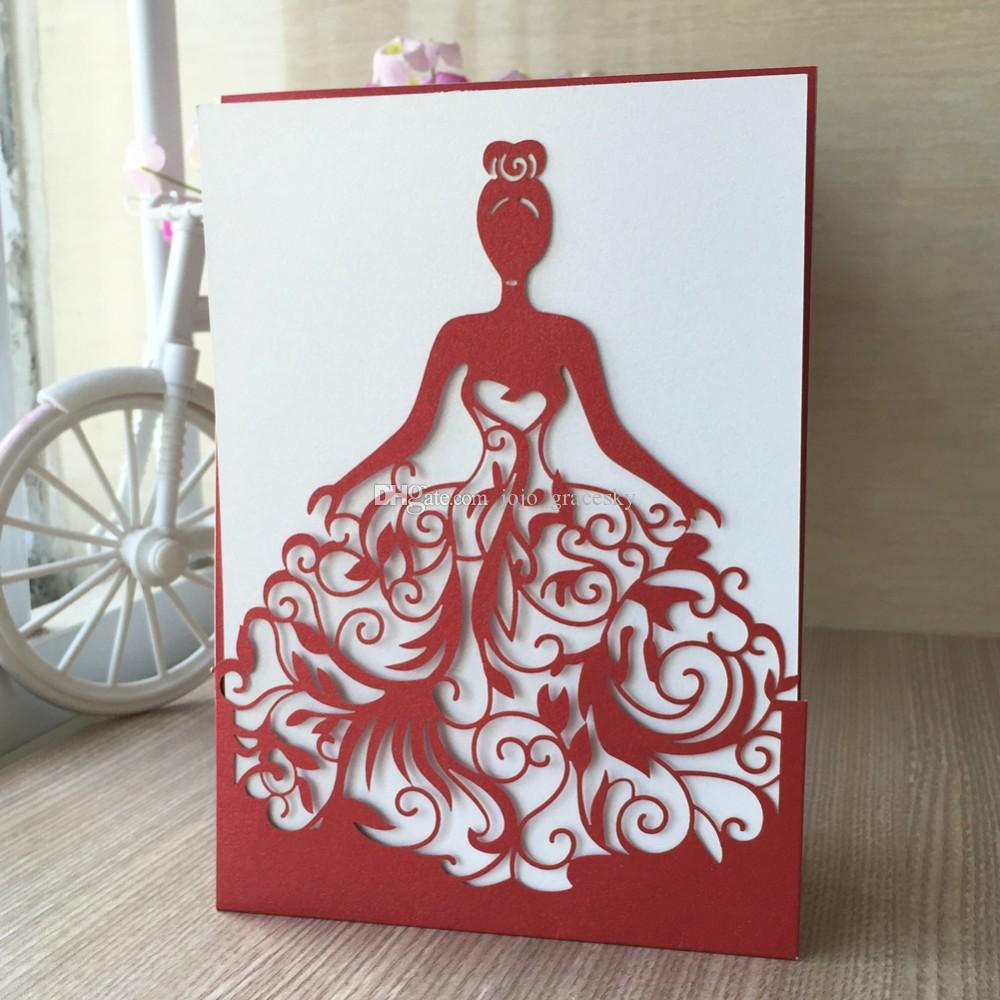 50 adet ücretsiz kargo Lazer kesim Düğün Davetiyesi Kartları invitaciones de boda convite de casamento Düğün Davetiyesi Kartları Prenses tasarım