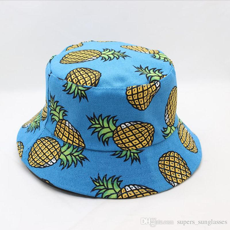 d2e1ea00973 2018 Pineapple Fruit Print Bucket Hat Fisherman Hat Outdoor Travel Hat Sun  Cap Hats For Men And Women Custom Fitted Hats Design Your Own Hat From ...