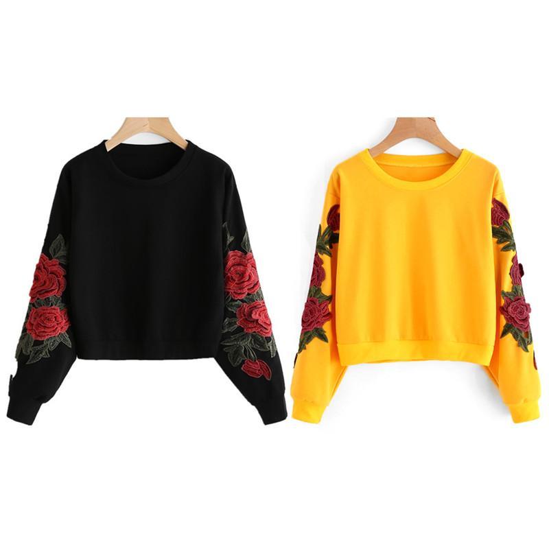 3818c608c58071 2019 Black Yellow Cotton 2018 Crop Sweatshirt Jumper Crop Top Embroidery  Pullover Autumn Spring Sweatshirt Women Hoodie From Sacallion