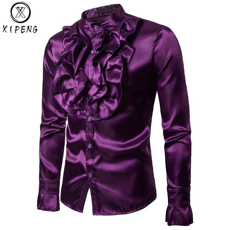 Larga Única Seda Smoking Fit Vintage Slim Satén De Designe Compre Hombre Púrpura Para Manga Gótica Boda Camisa P0xyqwtO