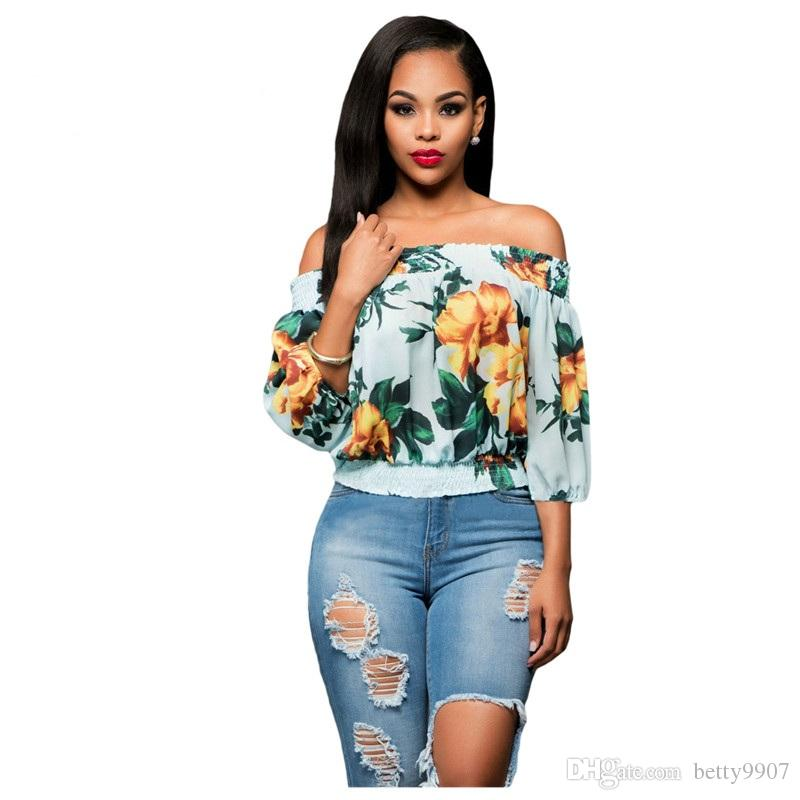 5940f74a8365b Women Clothes Plus Size Blouse Tops Desinger Sexy Flower Girl Loose ...