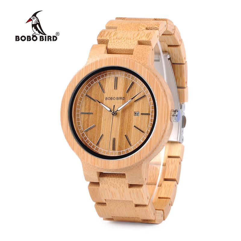 100%黒檀の木製ウォッチウッドカジュアルクォーツ高級時計天然木の腕時計レザーストラップ小売ギフトボックスはカスタマイズOEMを受け入れる