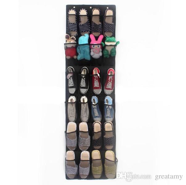 24 puerta de bolsillo que cuelga el organizador de zapatos del hogar del soporte sobre la pared del estante del almacenaje del organizador del bolso de la pared del armario zapatos de buena calidad
