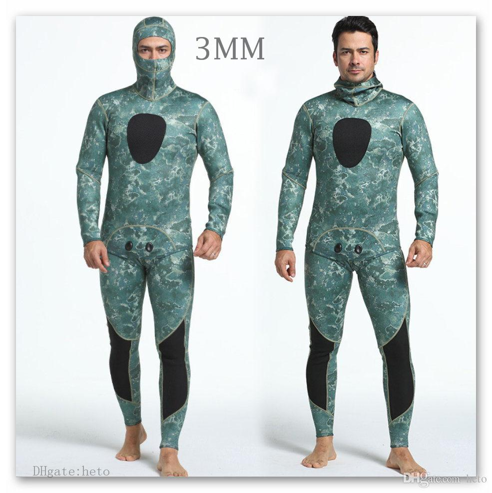 2019 Diving Suit Neoprene 3MM Men S Diving Wetsuit Swim Suit Winter Fishing  Two Piece Headgear Camouflage Protection Jellyfish Wet Suit Rash Guar From  Heto c70e188c9
