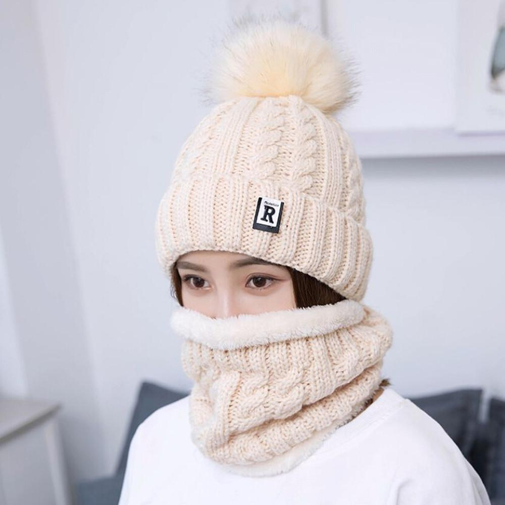 600c2ceaab3 2019 Women Winter Warm Knitted Venonat Hats Woman Bonnet Femme Hiver Beanie  Hat+Scarf Keep Warm Set Czapka Zimowa New Hot From Junemay
