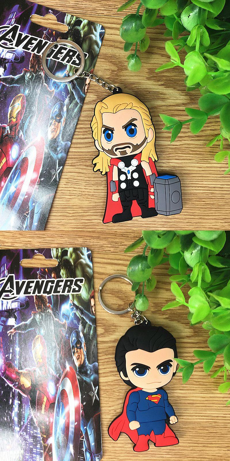 4 Estilo Marvel Avengers Batman S Super Raytheon Llavero suave de PVC de doble cara Llavero V 002