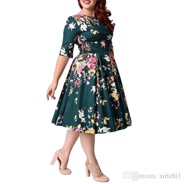 Half Sleeves Flower Printing A Line Dress Plus Size 2018 Hot Selling ...