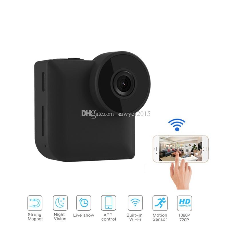 d943950f9156 C3 WiFi IP Mini Camera Wireless Control With Magnetic Clip Wearable 720P HD  Night Vision Sports Camera Home Security Surveillance Camcorder Secret Video  ...