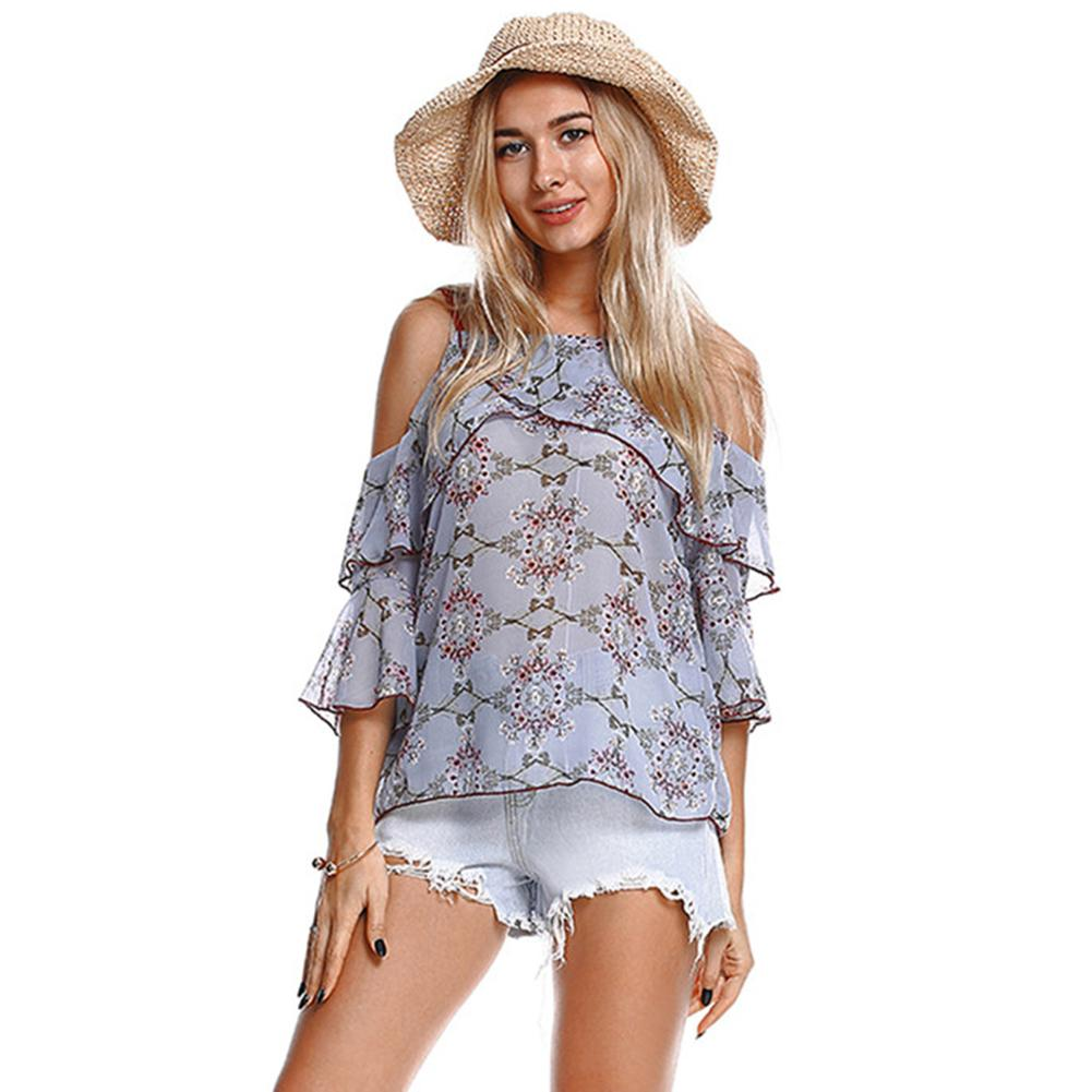 6f4208508e27c8 2019 Women Off Shoulder Chiffon Blouses Floral Print Ruffled Sleeve Loose  Tops Beige Light Blue Black Woman Blouse 2018 Spring Summer From Wanglon07