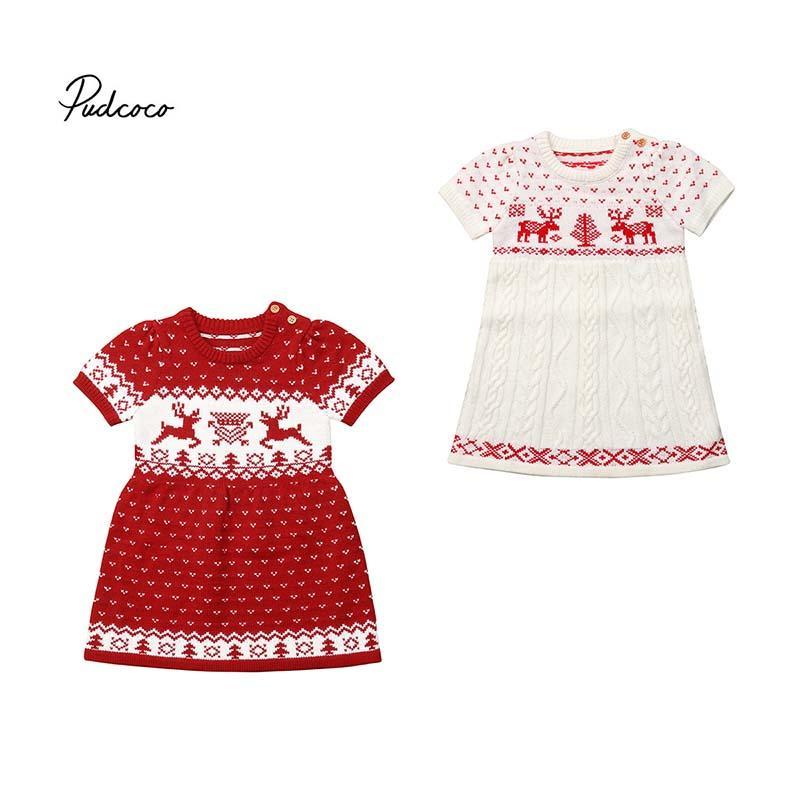4c06d3ccbc4d Acheter 2018 Pull De Noël Pour Les Filles Bambin Enfants Bébé Filles Pull  En Laine Pull Noël Élan Costume Crochet Robe Vêtements Chauds De  20.33 Du  ...