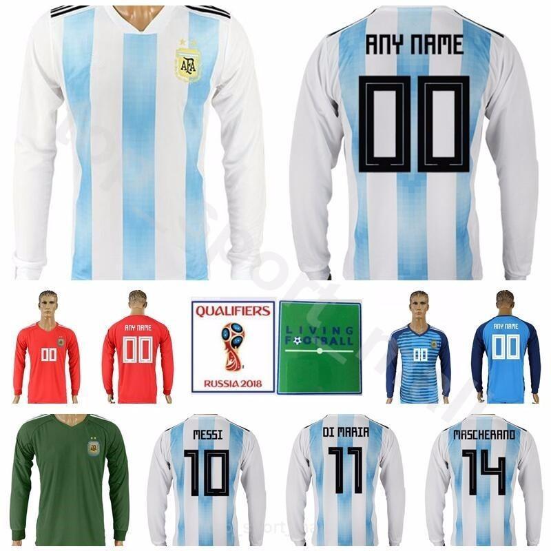 e3f99d61947 2019 Argentina Long Sleeve Jersey 2018 World Cup Men Soccer 10 MESSI 11 DI  MARIA Football Shirt Kits Away 14 MASCHERANO 19 KUN AGUERO 9 HIGUAIN From  ...
