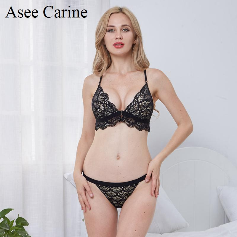 ee8272303afb1 2019 Asee Carine Hollow Out Lace Front Closure Butterfly Backless Bra And  Thong Set Women Underwear Triangle Bralette Removable Pad From Ingridea