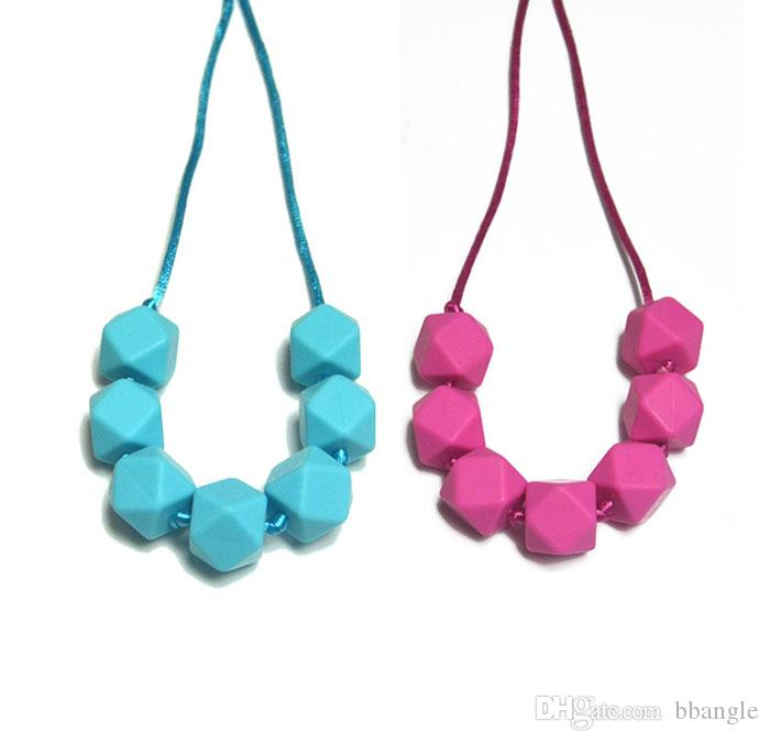 Silicone Beaded Teether Hexagon Necklace Food Grade Silicone Chewing Beads Teething Necklace Baby Safe Nursing Jewelry Mommy Wear Baby Chew