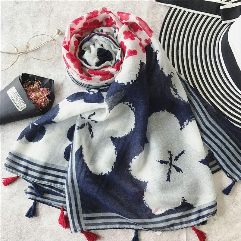 Guttavalli Women Small Flowers Dot Long Tassels Shawl Vintage Soft Stripe Print Scarf Bohemia White Red Blue Chevron Smooth Scarves