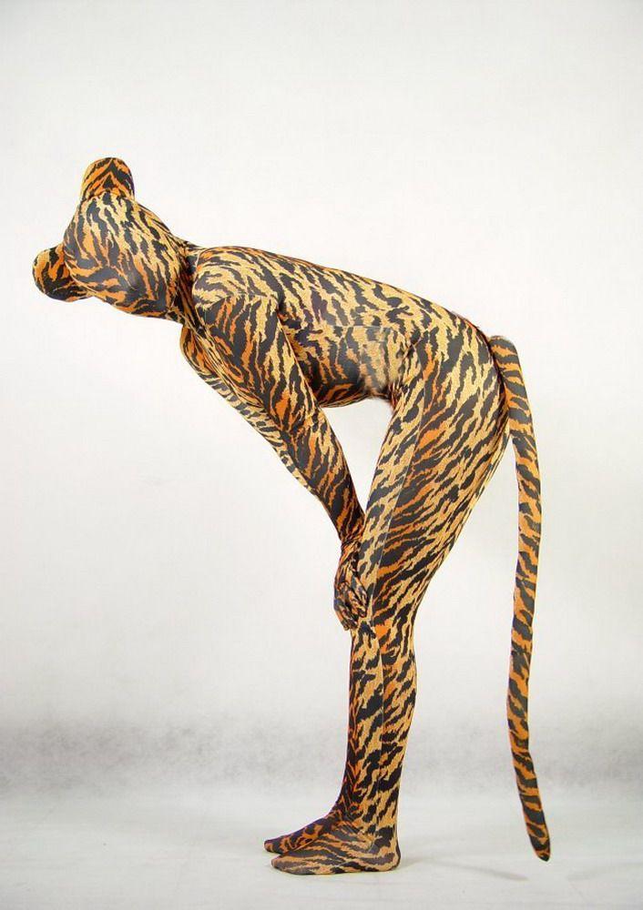 Traje sexy Zentai Lycra Catsuit fullboby Tiger / leopard S - XXL.