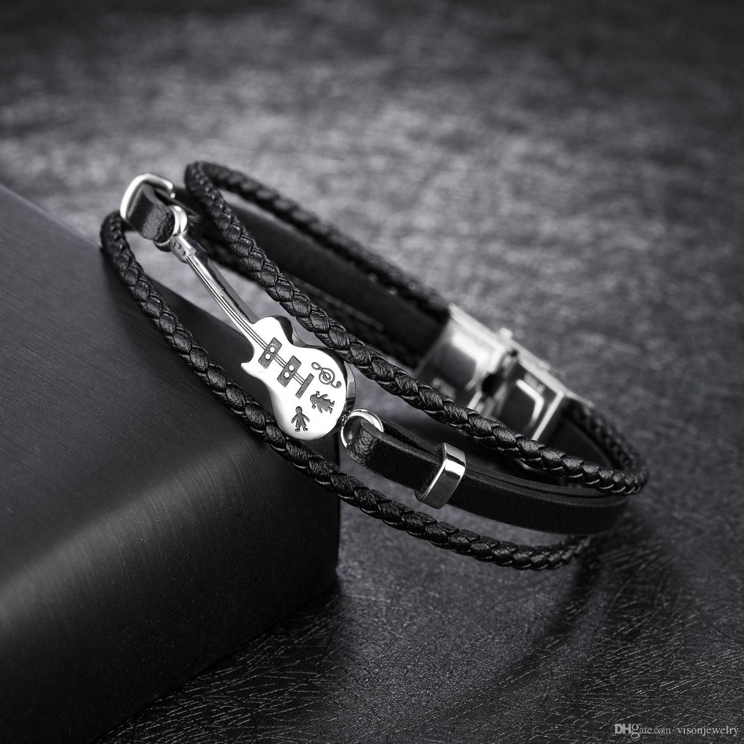 Rope Hand for Men Gothic Guitar Cuffs Wrap Leather Bracelets Jewelry Music Gifts Rocker for Him