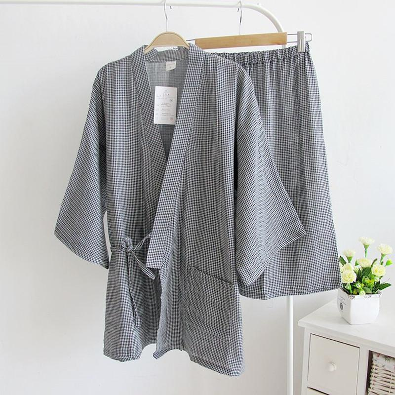 b5f7a976f0 2019 Kimono Pajamas Men Cotton Double Gauze Sleepwear Short Sleeve Pyjamas  Shorts Plaid Pajama Sets Men Sweat Steaming Clothes From Baimu