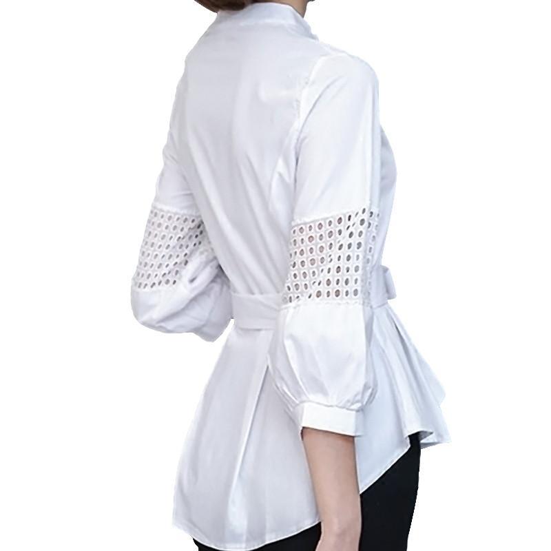 more photos d2340 12acc Camicia bianca donna 2018 Camicette a righe Eleganti Tunique Camicie da  ufficio Kimono Camicetta Donna Top Fiocco Slim Blusa Mujer C3160