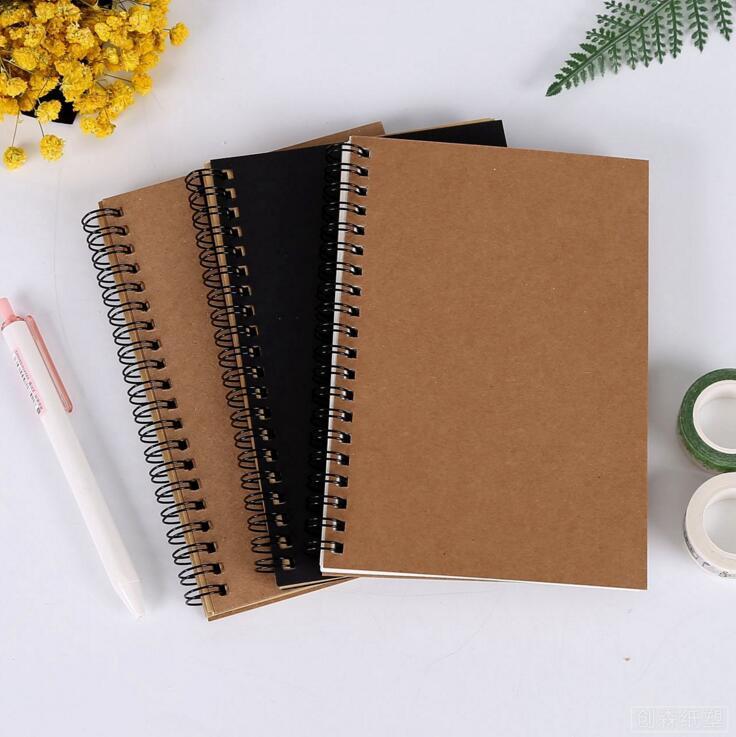 레트로 나선형 코일 스케치북 크래프트 흰색 내부 빈 종이 노트 일지 학생 notepads 스케치 책 예술 그리기 그림