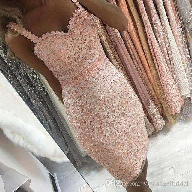 c5a3c957be Cheap Short Mini 2019 Cocktail Dresses Sweetheart Full Lace Applique Beaded  Knee Length Spaghetti Straps Sash Sheath Party Homecoming Gowns Couture  Cocktail ...