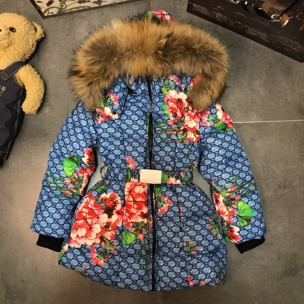 baf890279d66 2018 Winter Down Jacket Medium Long 95% White Goose Down 5% Feather Filler  1 1 Customized Small Flower Pattern Light Down Jacket Kids Down Jacket For  Girl ...