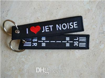 I Love Jet Noise 18R 36L Aviation Embroidered Key Chain Keyrings 13 x 2.8cm 100pcs lot