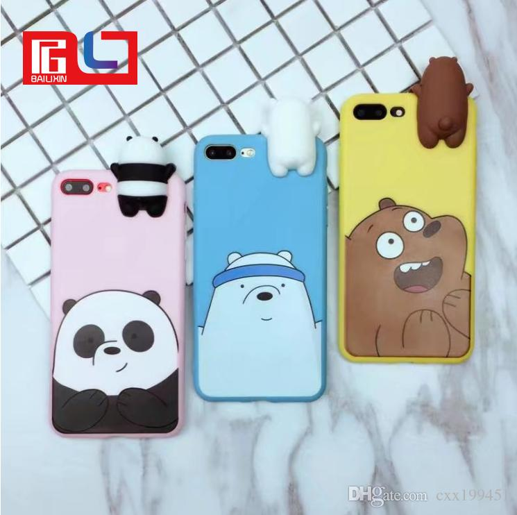 new product dc609 ba83c Novelty 3D Panda Polar Bear Brown Bears Silicone Phone Case Shockproof  Protective Cellphone Cases for IPhone 6 6s 6plus 6splus 7 7plus