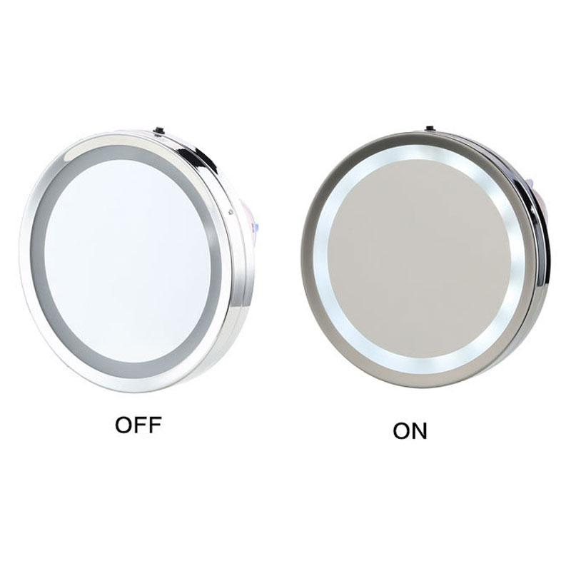 6 Inches LED Round Makeup Mirror 3x/5x Magnification Suction Cup Wall  Hanging Bathroom Mirror Facial Cosmetic Beauty Mirrors Makeup Mirror With  Lights ...