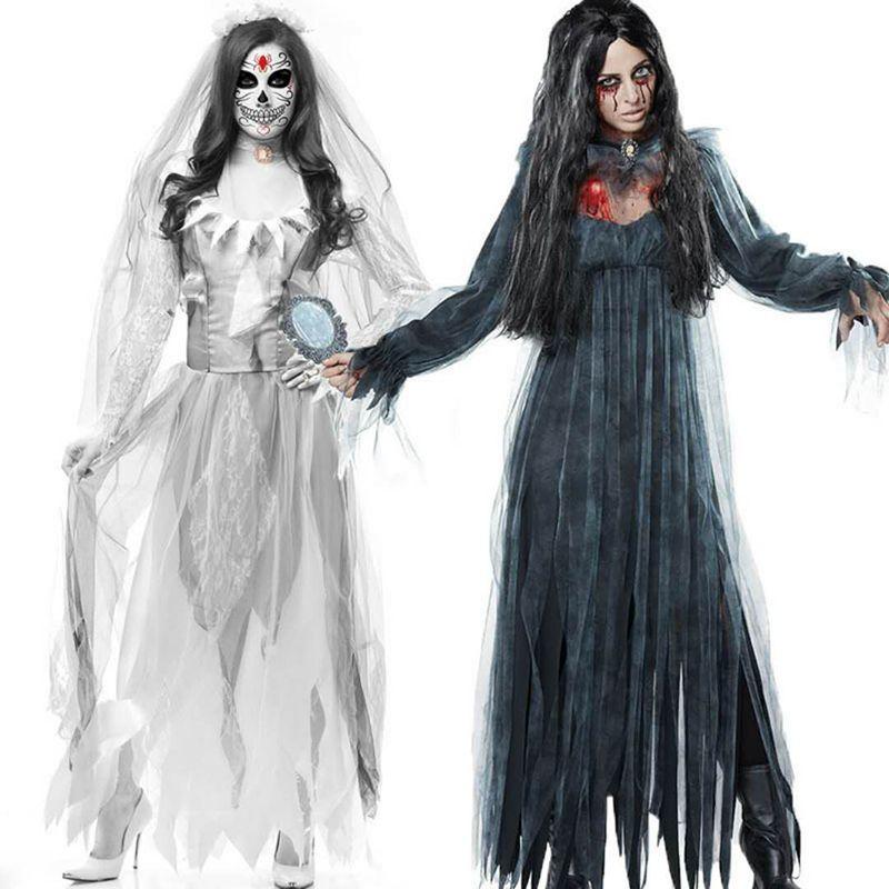 7726802b3549 Großhandel Hohe Qualität Neue Halloween Ghost Festival Goth Kostüm Frauen  Erwachsene Kleid Weiße Handschuhe Zombie Spielen Kostüm Spuk Braut Von  Sikaku, ...