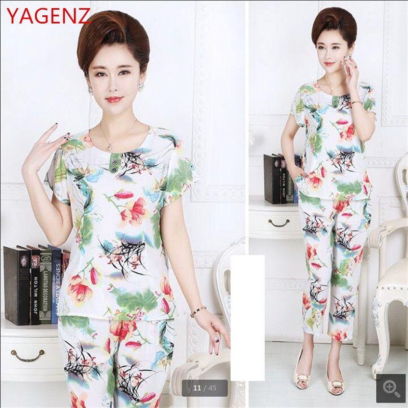 ce22735ff8 2019 Plus Size Pyjamas Set Women Summer Pajamas Printing Women S Household  Clothing Thin T Shirt + 7 Minutes Of Pants K3560 From Hongxuanstore01