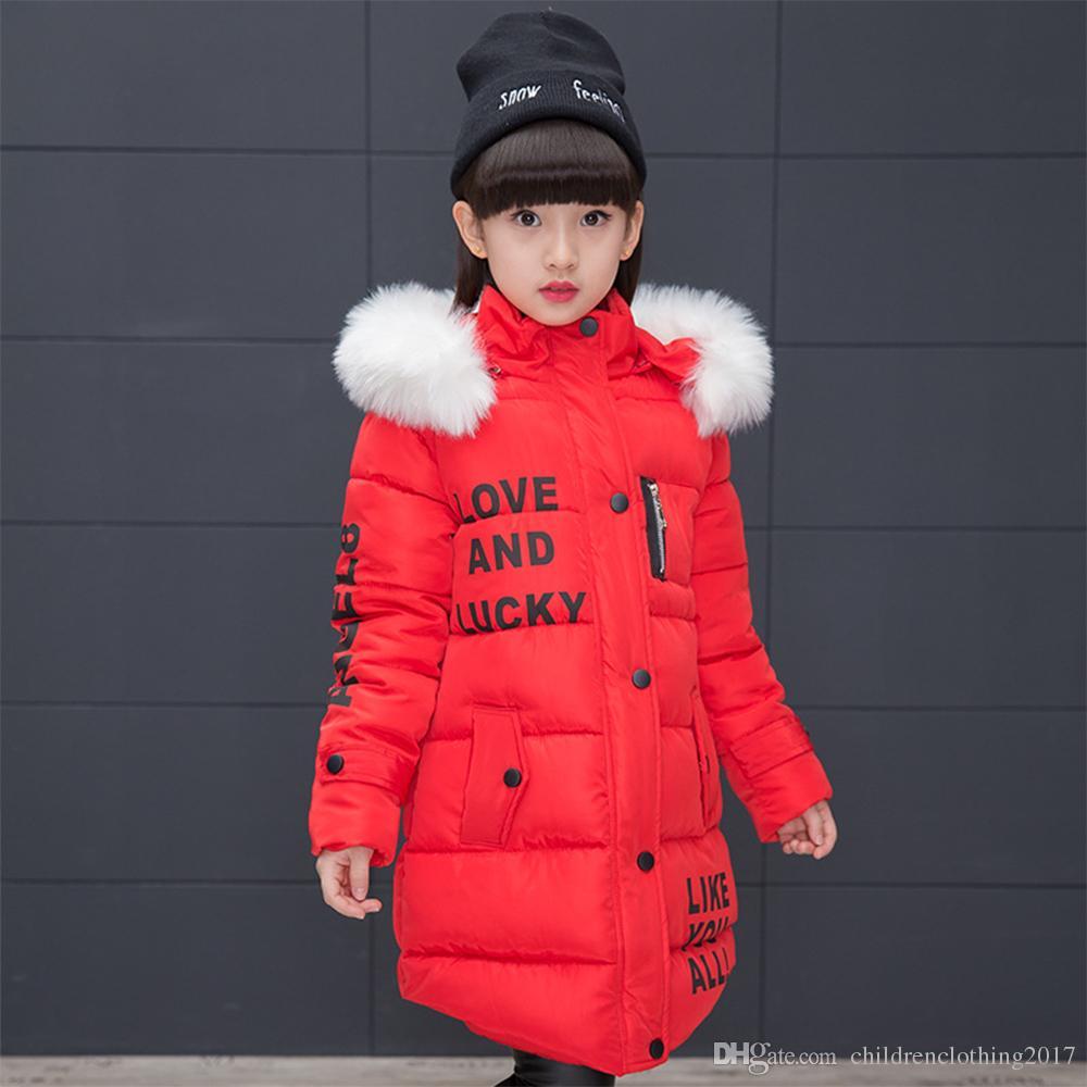 6d611a8aeaa 2018 New Arrival Winter Girls Thick Coats Long Letter Girls Winter ...
