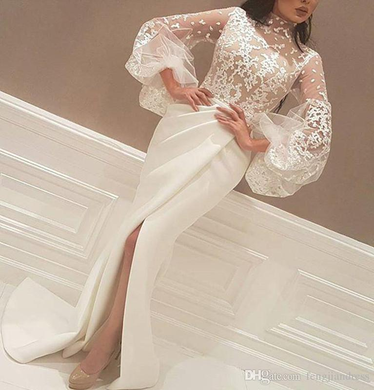 Formal Ivory Sheath Evening Dresses Front Split Prom Party Gowns ...
