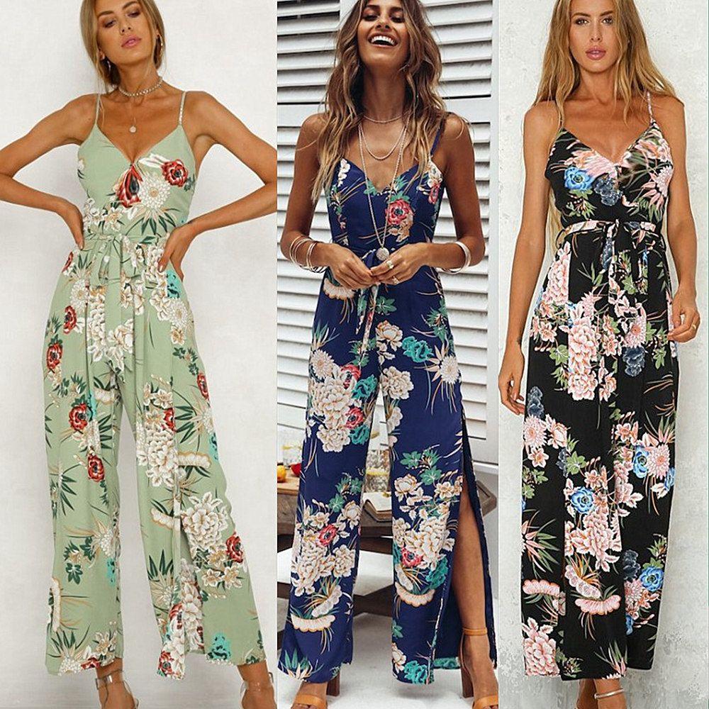 87e3982fc737 Sexy Sleeveless Jumpsuit Women Long Romper Summer Backless Floral ...