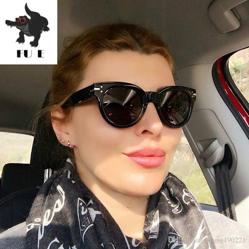 f41a9fbca5 FU E 2018 Fashion Rivets Cool Sunglasses Men S Brand Designer Women Rivet  Wild Colorful Sunglasses UV400 97016 Round Sunglasses Cheap Eyeglasses From  ...