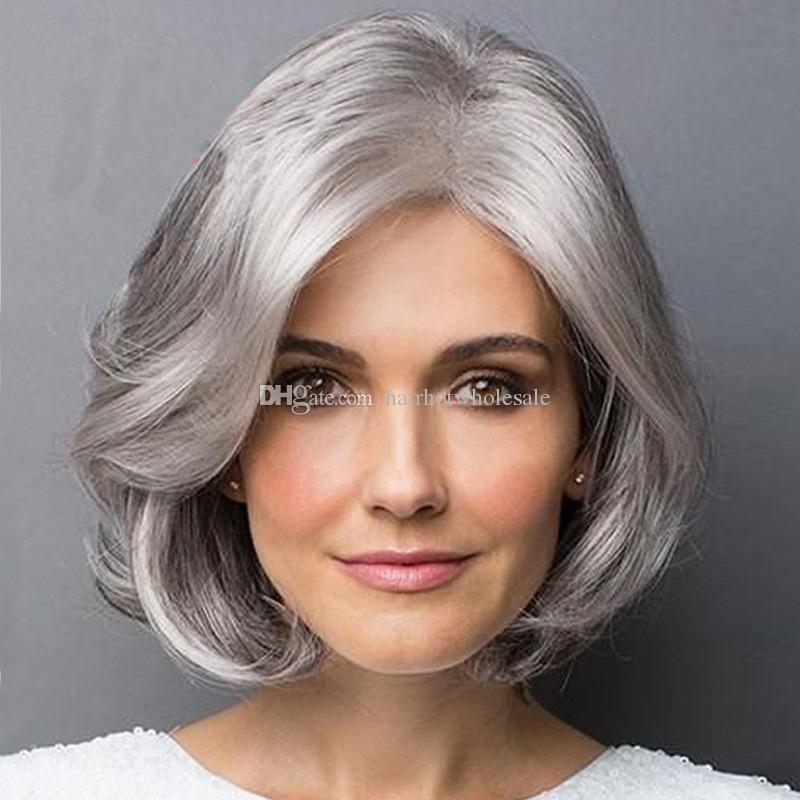 Grosshandel Frauen Kurze Lockige Haare Perucken Silber Farbe