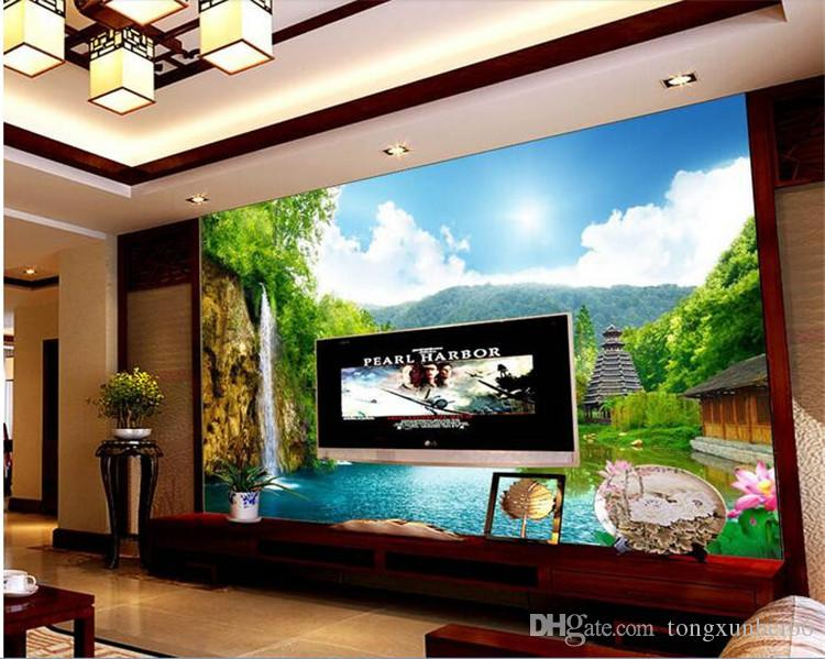 3d wallpaper custom mural non-woven wall sticker 3 d mountain waterfall lake tower painting photo 3d wall murals wallpaper