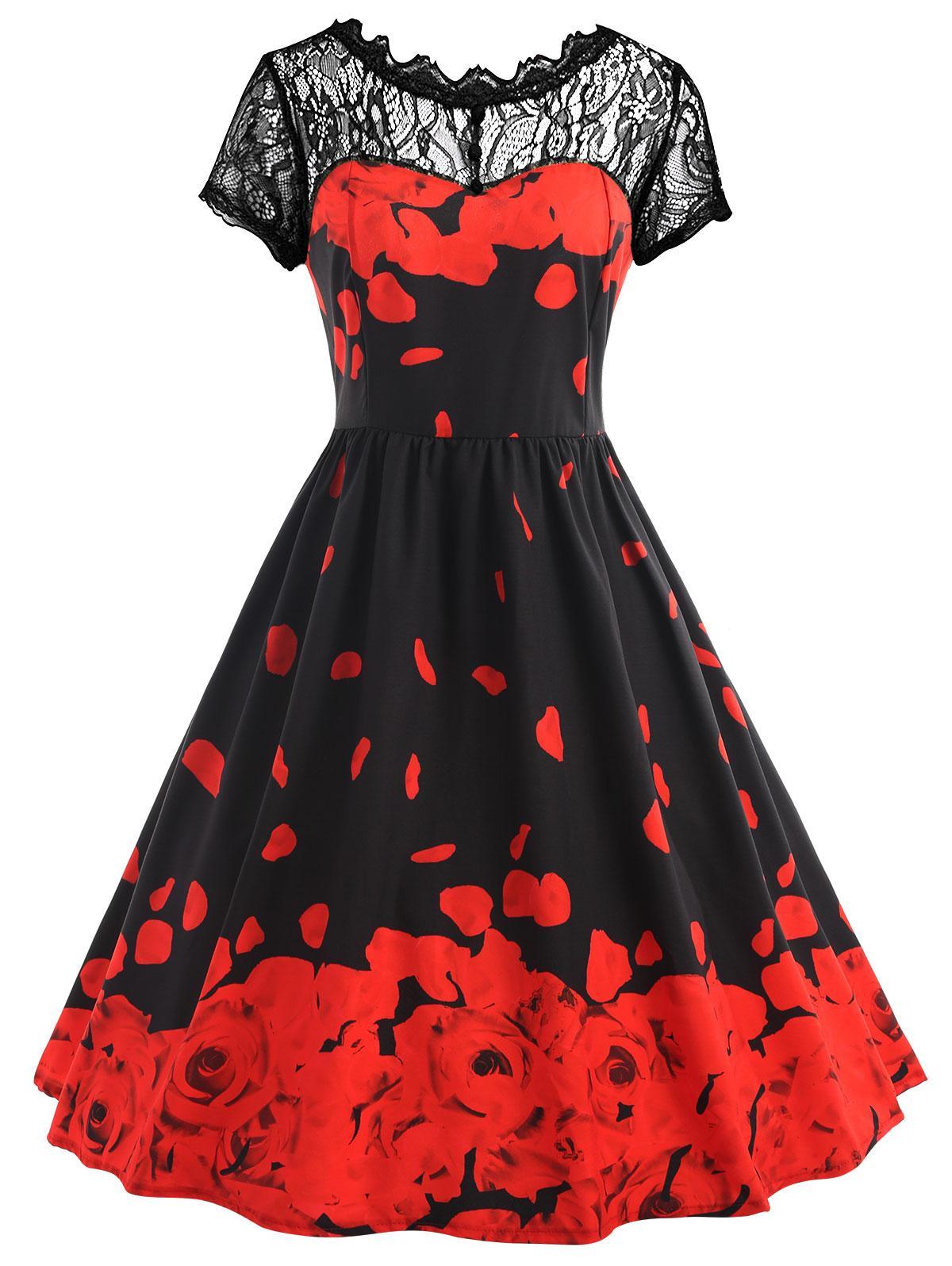 2019 Gamiss Plus Size Lace Rose Petal Print Valentine Dress 2018 New ...