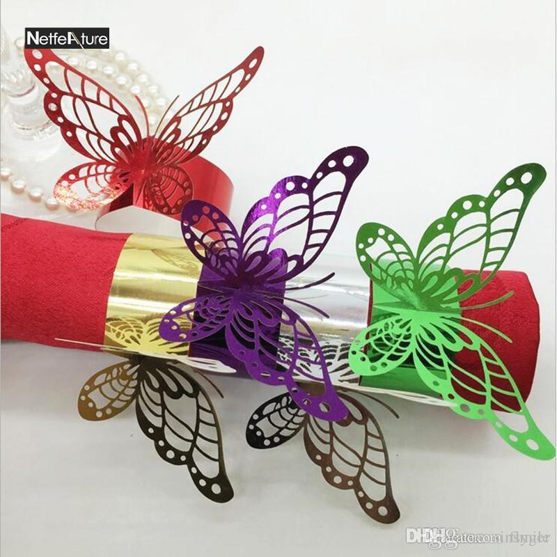 Wholesale- Wholesale 100Pcs Reflective Glossy Paper Butterfly Buckles  Napkin Rings Wedding Party 5Colors Serviette Holder Table Decoration