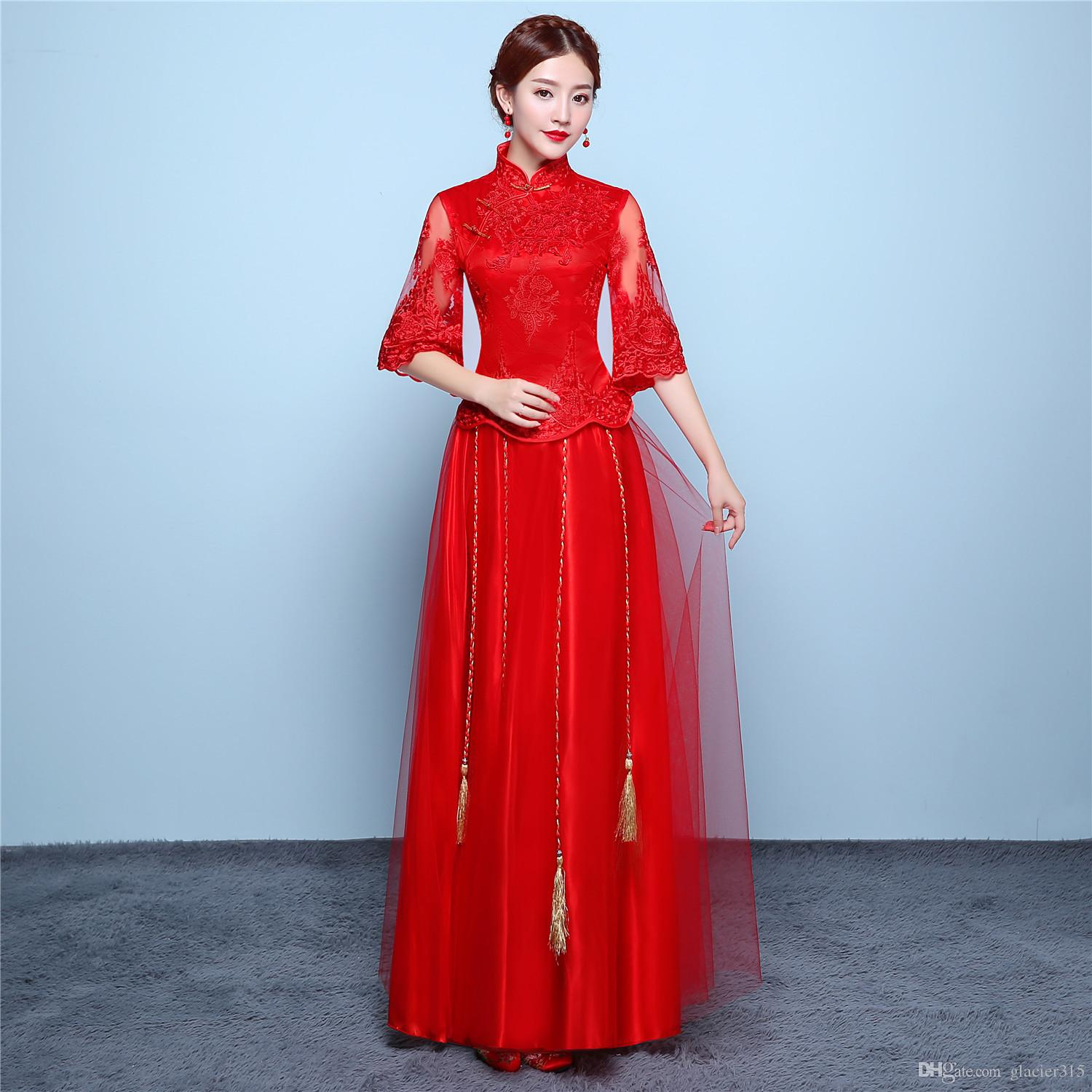 f35e5f3ac Shanghai Story Half Sleeve Lace Cheongsam Chinese Dress Red Qipao  Traditional Clothing Top + Skirt Suit Set