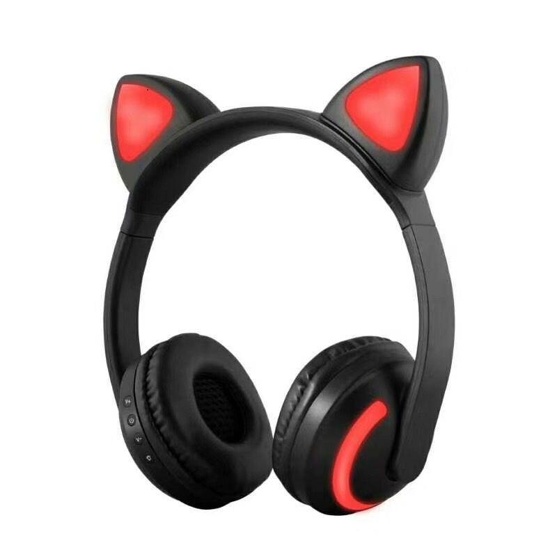 Auriculares del oído del gato de Bluetooth Fashion 2018 Parpadeo plegable que brilla intensamente Auriculares lindos del auricular con MIC de luz LED es cambian