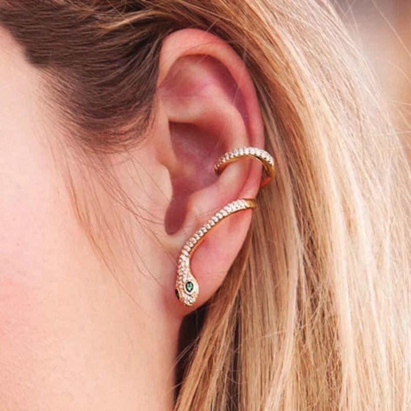 9fc1308aa 2019 European Women Snake Ear Cuff Earring Micro Pave Cz Silver Gold Black  Ear Bone Cuffs Fashion European Women Jewelry From Yizhe, $14.08    DHgate.Com