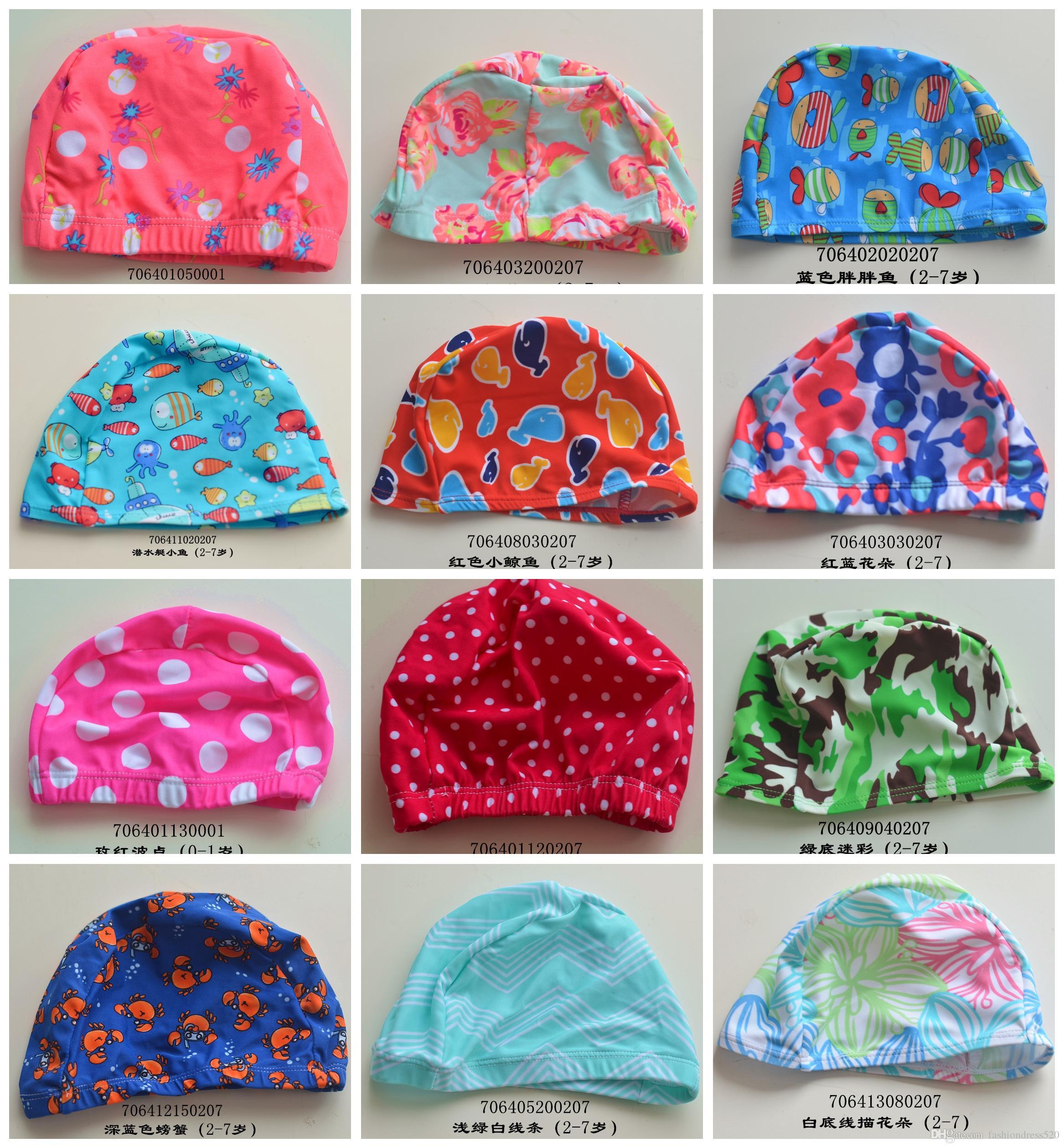 2019 Cut Printed Design 2 16 Years Old Children Elastic Wimming Caps Boys  Gilrs Swim Hat Swim Hat From Fashiondress520 c48248135b67