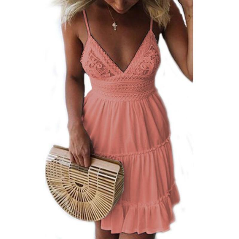 b1660c61eb1 Girls White Summer Dress Spaghetti Strap Bow Dresses Sexy Women V Neck  Sleeveless Backless Lace Patchwork Dress GV463 Plus Size Dresses Formal  Dresses From ...