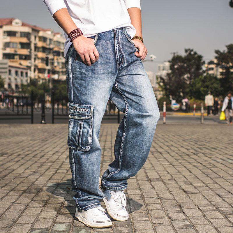top-rated official big sale lowest price Mens Cargo Jeans Pants Wide Leg Loose Fit Jeans For Men Hip Hop Baggy Homme  Men s Denim Harem Trousers Plus Size 42 44 46
