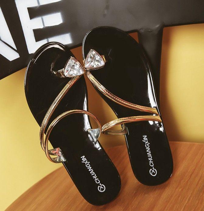 Cheap wholesale female sandals slippers flat with rhinestone word slippers female jelly slips slippers female Flip Flops rhinestone sliooers