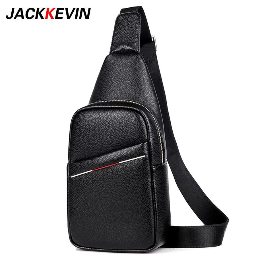 4f61eb434afe JACKKEVIN Genuine Leather Men Bag Men S Crossbody Bag Men Messenger Bags  Zipper Leather Phone Chest Pack Male Shoulder Bags Leather Bags From  Allinbag