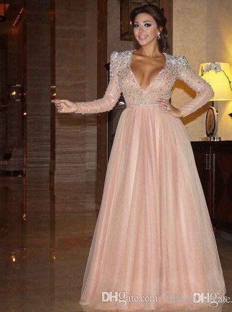 New Myriam Fares Vestidos de noche formales Mangas largas Cuello en V profundo Blush de cristal Árabe Alfombra roja árabe Fiesta de baile Vestidos de disfraces Vestidos